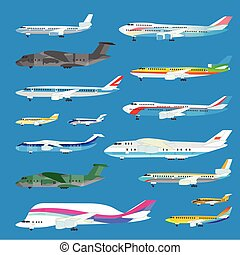 Different airplane aircraft set. Personal airplane, cargo....