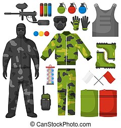 Paintball icons set. Paintball equipment collection. Flat...