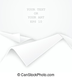 Realistic folded edge of white paper - Vector template for...
