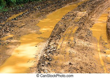 Impassable forest road of mud and clay, offroad