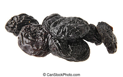 prunes isolated on white background closeup