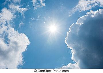 藍色, 天空, 云霧, 太陽