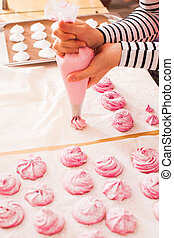 Home cooking marshmallow - Cooking of fruit pink marshmallow...