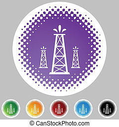 Oil Well web button isolated on a background
