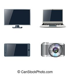 Set of devices. Stock vector. - Set of devices. TV, laptop,...