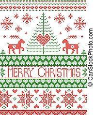 Merry Christmas Tall Scandinavian Printed Textile style and inspired by Norwegian Christmas and festive winter seamless pattern in cross stitch with reindeer, Xmas tree,  ,heart in red , green, white