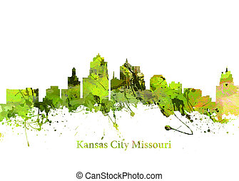 Kansas City Missouri - Watercolor art print of the Skyline...