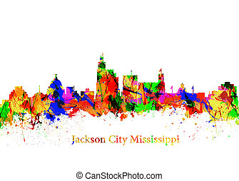 Jackson City Mississippi - Watercolor art print of the...