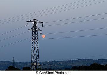Pylon silhouette  at dusk in Yorkshire UK