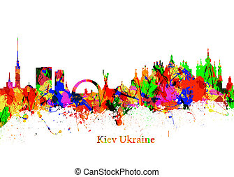 Kiev Ukraine - Watercolor art print of the Skyline of Kiev...