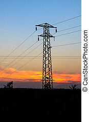 Pylon silhouette in the sunset in Yorkshire UK