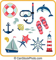 Nautical icons set - Vector set of nautical and marine icons...