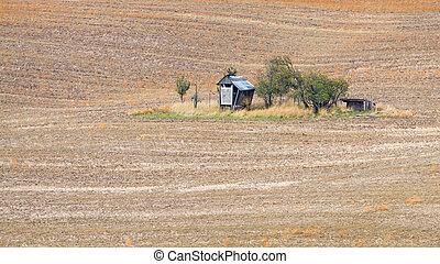 Small gazebo on moravian field in Czechia.