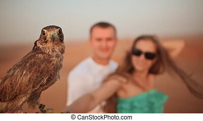 Girl and the guy keep on hand eagle. Slow motion. - Shot...