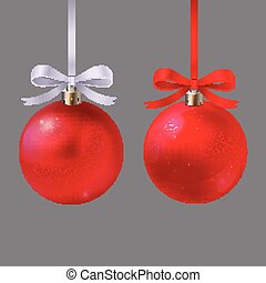 christmass red balls - pair of beautiful red balls with...