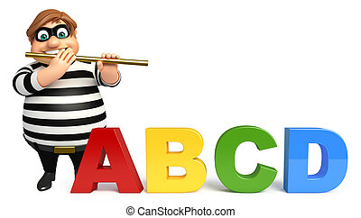Thief with Flute & ABCD sign