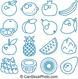 Fruits. Set of line icons. Vector illustration