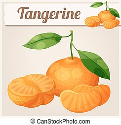Tangerine fruit Mandarin. Cartoon vector icon. Series of...