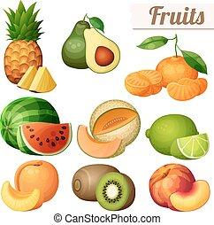 Set of food icons isolated on white background. Fruits....