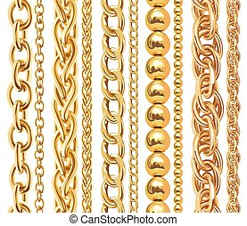 Set of realistic vector golden chains. Vector illustration...