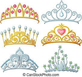 Set of princess crowns Tiara isolated on white. Vector...
