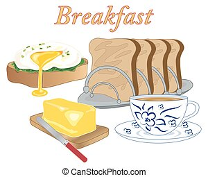 breakfast food - a vector illustration in eps 10 format of...