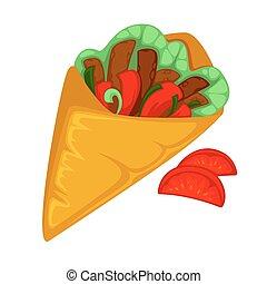 Burrito roll, shawarma or gyros pita. Fast food of mexican,...