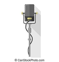 Microphones and earphone realistic colorful icon - Original...