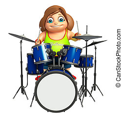 kid girl with Drum
