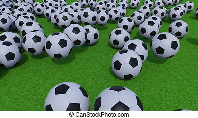 Generic football balls rolling and bouncing on green grass field. 4K ProRes clip