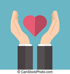 Male hands holding heart