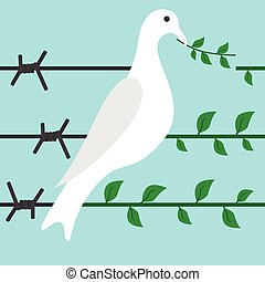 Bird on barbed wire - Bird turns barbed wire in branch on...