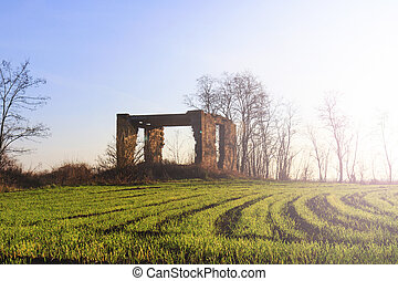 abandoned brick house and wheat field with sunny hotspot