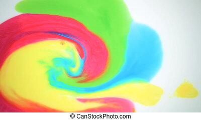 Beautiful movement of bright colors on a white background