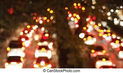 Blurred Lights of Traffic Jam Background