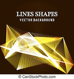 Lines shapes lighting abstract on golden dark background....