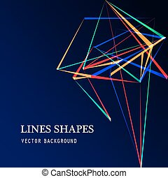 Colorful Lines shapes abstract isolated on blue dark background