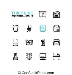 Office Supplies - Thick Single Line Icons Set - Office...