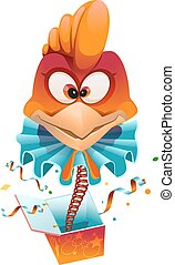 Red head Rooster clown jumps out of box