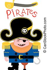 Cartoon funny pirate - Cartoon Funny Pirate captain with a...
