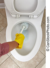 Toilet bowl cleaning. - Flush toilet bowl cleaning with a...