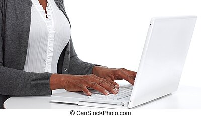 Hands with laptop .