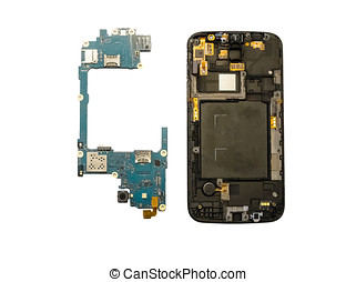 Disassembly of smartphone showing electrical board inside,...