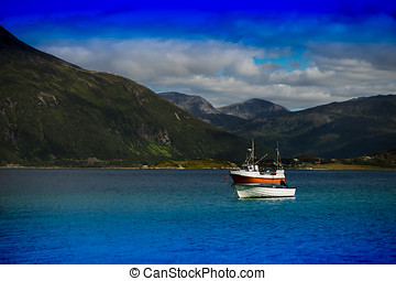 Two boats near Norway fjords landscape background hd