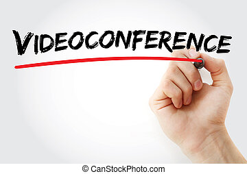 Hand writing Videoconference with marker, concept background