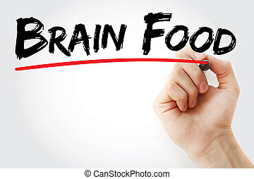 Hand writing Brain Food with marker, concept background