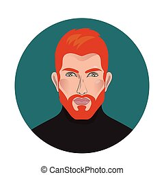 Vector handsome man - Red beard. Vector handsome man in...