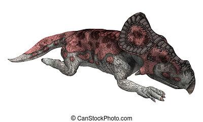 protoceratops, interpretación, blanco,  3D, Dinosaurio