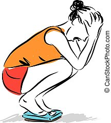 woman losing weight problems illustration