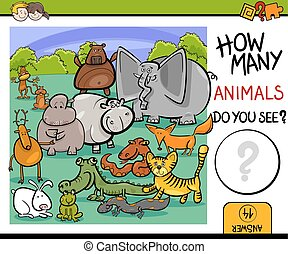 count animals game for kids - Cartoon Illustration of...